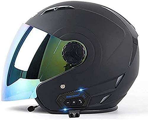 XLYYHZ Casco de Motocicleta con Bluetooth de Cara Abierta 3/4, Casco de Jet Unisex para Adultos con certificación ECE, Medio Casco de Seguridad Retro con Visera para Casco de Motocicleta Scooter CR