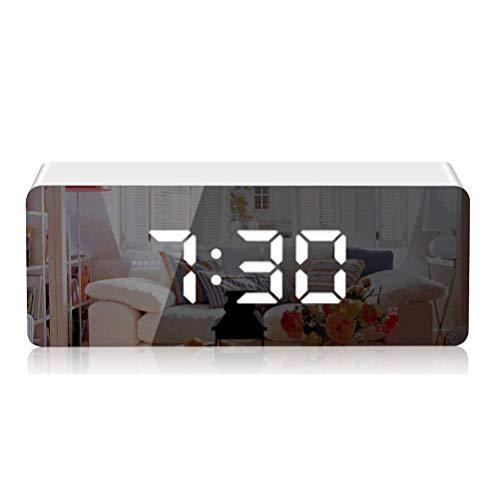 KKshop Despertador Digital Espejo LED Despertador Electrónico, Espejo Reloj Digital Moderno con Función de Alarma, Snooze y Memoria Automática, Luminancia Ajustable