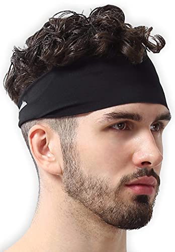 Mens Headband - Sweat Band Workout Head Bands Sports Sweatbands Hair Band for Running, Yoga, Exercise, Basketball, Cycling, Football, Tennis - Athletic Performance Stretch Moisture Wicking Hairband