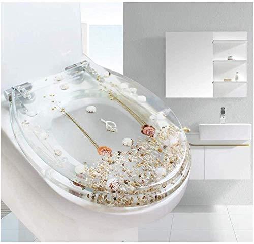 Asientos para inodoro Antideslizante WC Tapa, de primera calidad de los asientos, cierre suave ajustable bisagra de la tapa cubierta for el baño de la familia, White fácil de limpiar (Color : B)