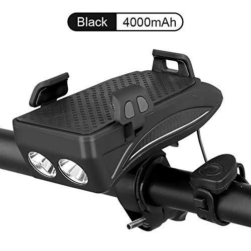 LDH 4000mAh Waterproof Bike Front Light USB Rechargeable LED Bike Headlight Phone Holder Power Bank 4 In 1 MTB Super Bright Bicycle Horn Light (Color : Black)