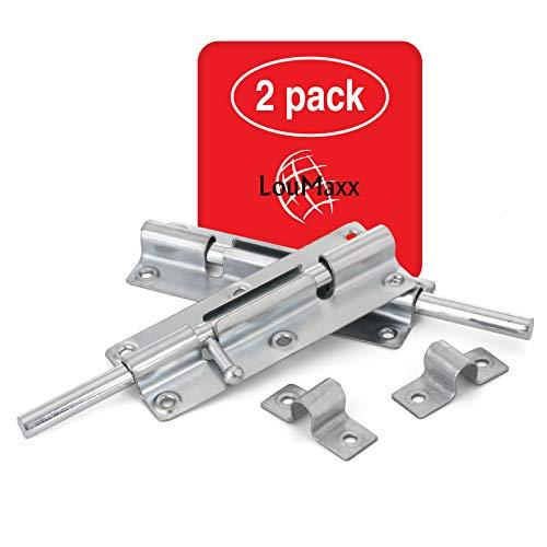 LouMaxx Türriegel 2er Set - Riegelschloss 38x100 mm - inklusive Schrauben - Schlossriegel – Riegel Tür - Schieberiegel – Verriegelung für Türen – Bolzenriegel - Türverriegelung