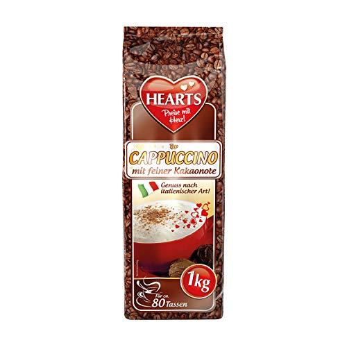 HEARTS Cappuccino mit feiner Kakaonote 10 x 1 kg - Genuss nach italienischer Art, ca. 80 Portionen pro Beutel, besonders milchig & cremig, praktische Familienpackung, intensives Aroma