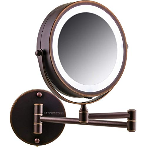 Price comparison product image OVENTE Wall Mount LED Lighted Makeup Mirror,  Battery Operated,  1x / 10x Magnification,  7 Inch,  Antique Bronze (MFW70ABZ1X10X)