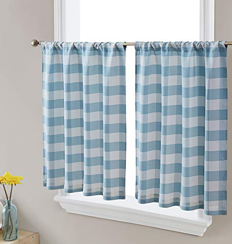 HLC.ME Hilltop Buffalo Textured Light Filtering Transparent Back Tab Pocket Hole Short Thick Cafe Curtain Tiers Drapery for Small Windows, Kitchen & Bathroom, 2 Panels (35 W x 24 L, Farmhouse Blue)
