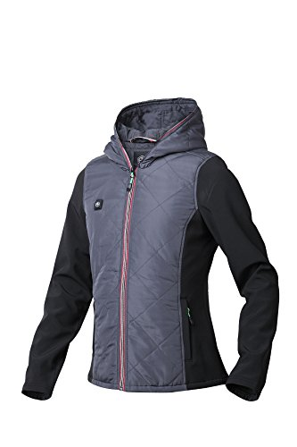 Pau1Hami1ton PJ-03 Damen Winterjacke beheizbare Heiz-Jacke beheizbare Softshell-Jacke Heat Jacket Hoodie Reissverschluss warm Jacke (5V / 2A or Higher Power Bank (L, Grey)