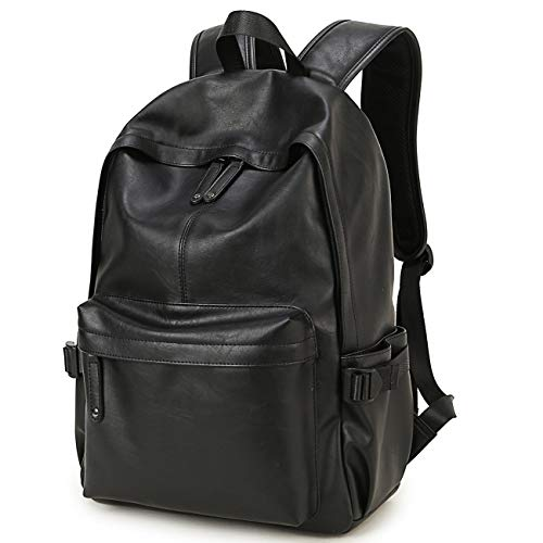 Unisex PU Leather Backpack Laptop Computer Bag 15.6-inch College Backpack Backpack Outdoor Weekend Travel Backpack: 32 cm x 43 cm x 12 cm (Black)
