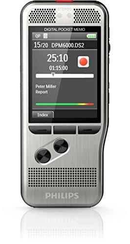 Philips DPM6000 Digitales Diktiergerät Aufnahmegerät, Steuerung per Drucktasten, inkl. Diktiersoftware SpeechExec 10, neue Version