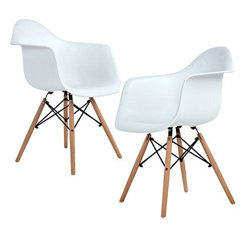 Ajie Set di 2 Pranzo/Ufficio Sedia con Gambe in faggio Massiccio, Poltrona sedie di Design per Il Massimo Comfort - Blanc