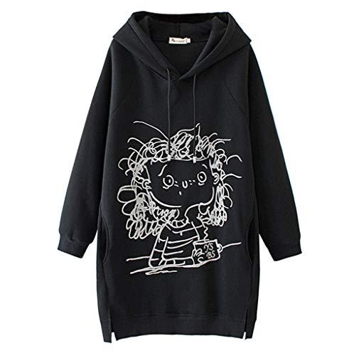 SHOBDW Hoodie Damen Sweatshirt mit Kapuze Japanischen Stil Kawaii Karikatur Kapuzenpullover Mädchen Herbst und Winter Pullover für Party Reisen Tägliche Lässig Pullover Damen