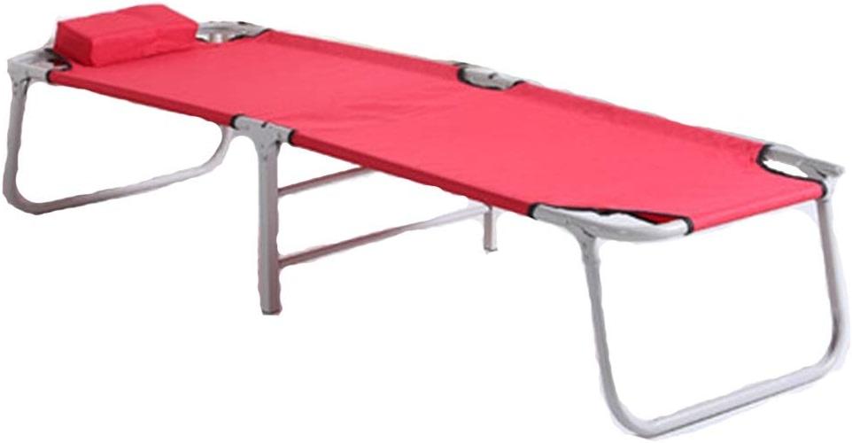 Lit pliant Lits De Camping,Portable, Renforcé Lit Simple Sieste Canapé Lit De Camp Simple (Couleur   rose)