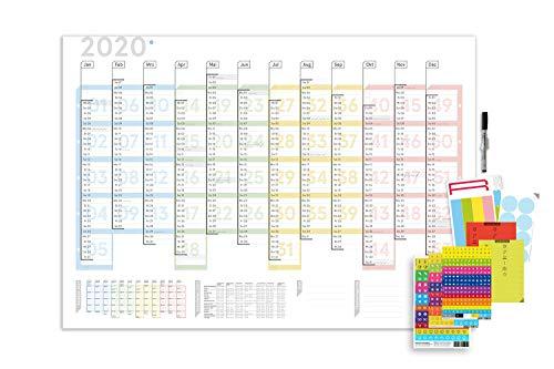 weekview Wandplaner Colour, DIN A1, abwischbar, inkl. Sticker und Labels