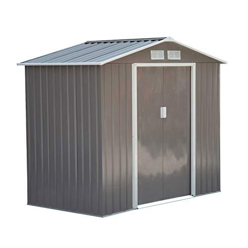 Outsunny Caseta de Jardín Tipo Cobertizo Metálico para Almacenamiento de Herramientas Base Incluida 4 Ventanas 213x127x185cm Acero Gris