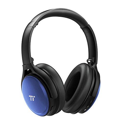 TaoTronics Noise Cancelling Kopfhörer Bluetooth Kopfhörer Over Ear mit aktiver Rauschunterdrückung 25 Std. Laufzeit, TT-BH22 eingebautes Mikro CVC 6.0, duale 40 mm Tieftontöner, Faltbare Ohrhörer Blau