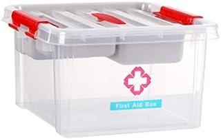 Household Medicine Storage Box Multi-Layer Medical Box Portable Medicine Chest Plastic First Aid Box 28.5×28.5×16cm AMINIY (Color : Clear)