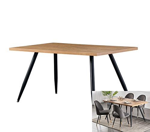 AINPECCA Dining Table with Black Metal Legs Kitchen Table (Oak Effect Top, 150 * 90cm)