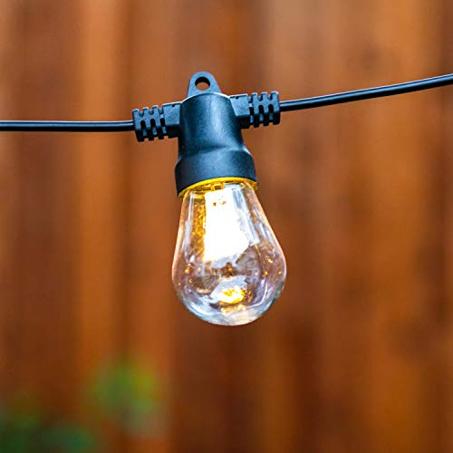 Brightech Ambience Pro - Waterproof, Solar Powered Outdoor String Lights - 27 Ft Vintage Edison Bulbs Create Bistro Ambience On Your Patio - Commercial Grade, Shatterproof - 1W LED, Soft White Light