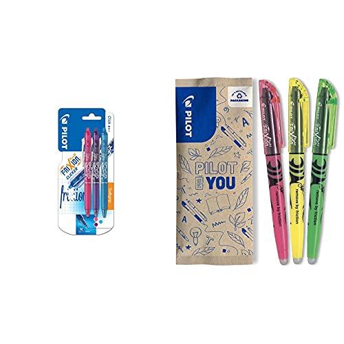 Pilot FriXion Clicker Bolígrafo roller de gel de tinta borrable (3 unidades), color rosa, morado y azul + Pilot Spain Frixion Light Marcador fluorescente borrable, multicolor