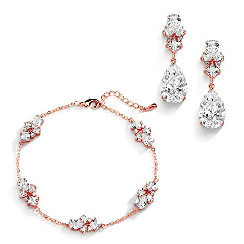 Mariell CZ Bridal Bracelet & Matching Earrings, Rose Gold Jewelry Set Adjustable Bracelet 7 ¼' to 8 ¾'