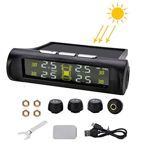 LncBoc TPMS Sistema de Monitoreo de Presión de Neumáticos Solar, Pantalla LCD en Tiempo Real, Monitor de Presión de Temperatura de los Neumáticos de Coche con 4 sensores Externos