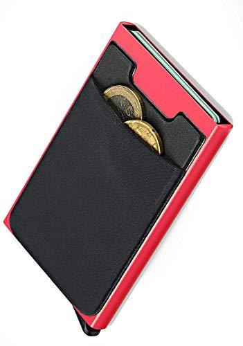 NeroAvorio Tarjetero para Tarjetas de Crédito, Bloqueo RFID, Monedero Fino Aluminio y Cuero, Rojo, Minimalista, Sistema Pop-UP para 6 Tarjetas con Bolsillos Exteriores para Billetes o Monedas