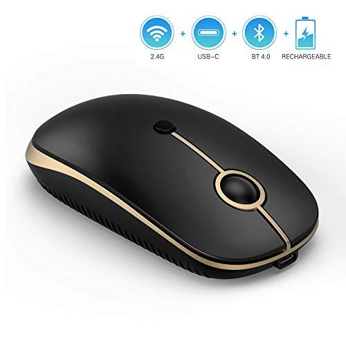 Jelly Comb Kabellose Maus, Triple Mode-Bluetooth+2.4G USB+Typ C Drahtlose Maus, Wiederaufladbare Stille Schnurlose Mäuse für Laptop/PC/Tablet, iPad/Phone, MacBook, Schwarz und Gold