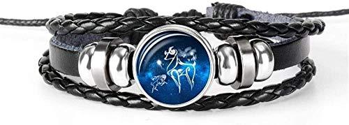 Pulsera Exquisita Pulsera De 12 Constelaciones Zodiaco Mori Cáncer Aries Géminis Constelación Y Cuentas Hombres Mujeres Unisex Pulsera Negra Tejida (Color: Escorpio) Ram