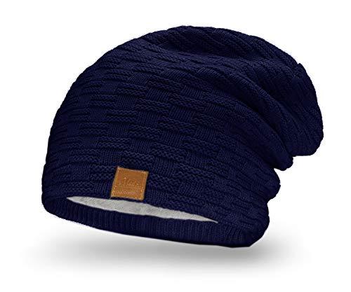 Mikos * Damen Frauen Herren Mütze Winter Strickmütze Wintermütze Gefütterte Beanie Unisex (654) (Blau)