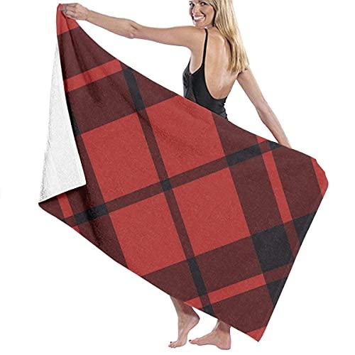 Toallas de Playa Raya Negra de celosía roja Retro Toalla de Piscina Esterilla de Yoga Seque Rápidamente Absorbente Prevención de Arena para Viaje 80*130 cm