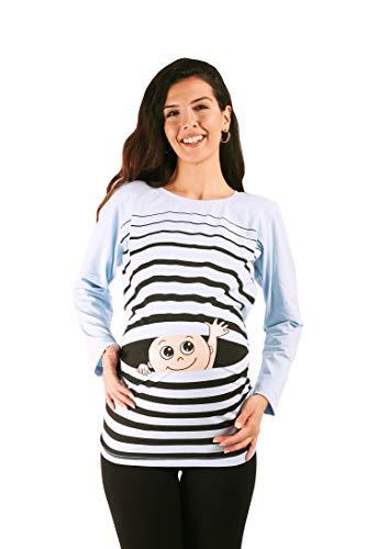M.M.C. Winke Winke Baby - Lustige witzige süße Umstandsmode gestreiftes Umstandsshirt mit Motiv für die Schwangerschaft Schwangerschaftsshirt, Langarm (Babyblau, Small)