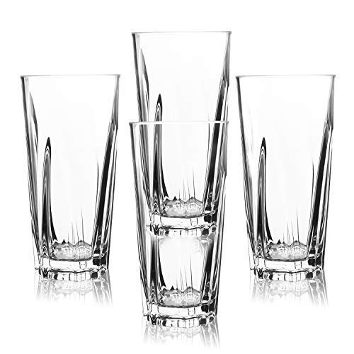 PEMOTech Wasserglas, 454ml bruchsicher stapelbar Premium Acryl Whiskey Bier Saft Rotwein Wassergläser Restaurant Party Bar Tassen Set, BPA-frei, bessere Alternative zu Glas