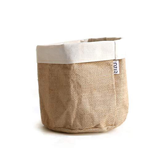Sizobag Jute Natur Weiss Beutel mini Pflanzen Krug für Gewürzpflanzen, Aufbewahrung für Pflegeprodukte und Pinselhalter 20x20 cm