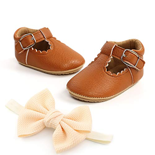 BENHERO Infant Baby Girl Dress Shoes Handmade Soft Sole No-Slip Mary Jane Princess Shoes Wedding Dress Shoes(6-12 Months Infant, F/Brown)