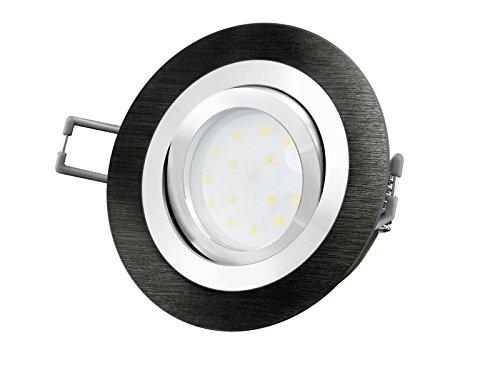 LED-Einbaustrahler Ultra flach (30mm) RF-2 rund Alu schwarz gebürstet schwenkbar mit 5W LED Modul warmweiß 2700K 230V ohne Trafo | Oberfläche schwarz eloxiert | glanzpolierter Innenring