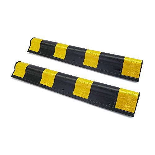 PrimeMatik - Hoekbeschermer voor auto. Rubbersamenstelling met reflectoren voor parkeren. 79,5cm 2-pack