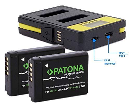 PATONA Premium (2X) Ersatz für Akku Canon NB-13L (echte 1010mAh) - mit 141671 Ladegerät (USB/USB-C) - auch kompatibel mit Canon G5 X Mark II und G7 X Mark III