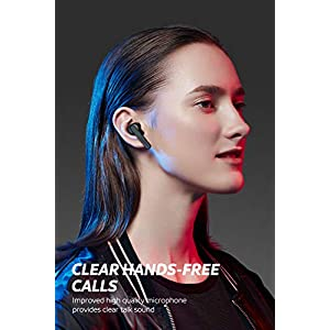 SoundPEATS True Wireless Earbuds TWS Bluetooth Headphones in-Ear Stereo Bluetooth V5.0 Earphones High Definition Mic Rechargable Wireless Headphones (Clear Calls, Smart Touch, IPX5, 24 Hours Playtime)