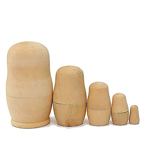 Carry stone Premium Qualität 5X unbemalte DIY Blank Holz Embryonen russische Nesting Dolls Matroschka Spielzeug Geschenk