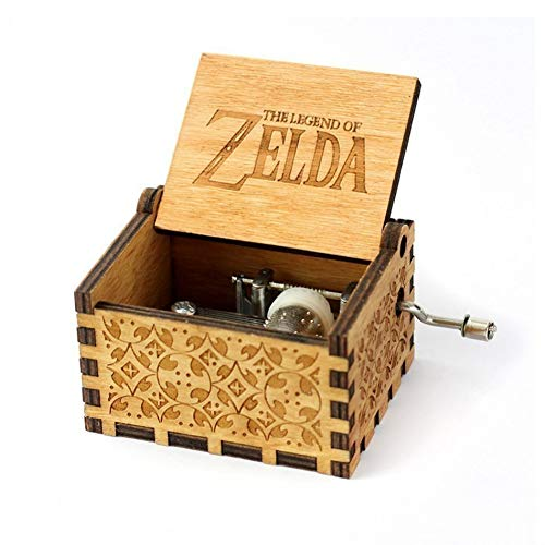 Antieke gesneden hout zwarte muziekdoos Hand Crank thema muziek Nieuwjaar Gift Geboortedag Gift The Legend of Zelda