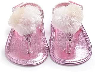 Bold N Elegant Shiny Shimmer Pompom Fur Ball Soft Sole Non Slip Princess Sandal First Walker Crib Shoes Baby Girl Birthday Footwear for Infant Toddler Baby Girls