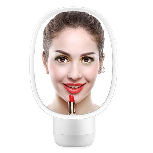 Multifunctionele make-upspiegel voor make-up, 2 kleuren Multifunctionele desktop LED-luchtbevochtiger Make-upspiegel 5X vergrotende make-upspiegel(White)
