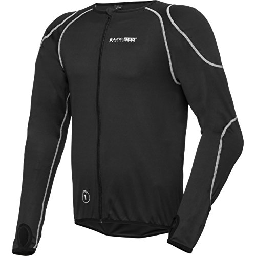 Safe Max® Protektorenjacke Motorrad Protektorenhemd Unterziehjacke mit Gelenk- und Rückenprotektor 3.0, extrem funktional, luftig, atmungsaktiv, Schulter-, Ellbogenprotektoren, Schwarz, L