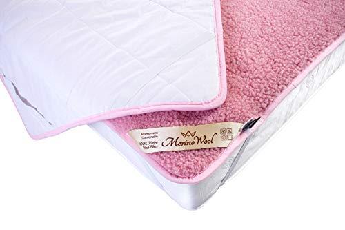 Rosa Protector colchón en Varios tamaños/Lana Merino Protector de colchones con Correas elásticas en Las Esquinas Cubre/Certificada por Woolmark. Muy Suave y Confortable. (60_x_120_cm)