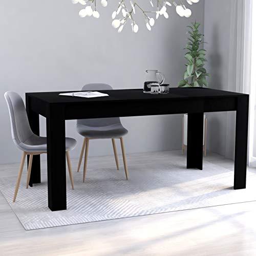 WooDlan Mesa de Comedor Extensible, Mesa salón o Cocina de aglomerado Negro,160x80x76 cm