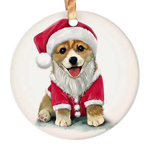 Dadidyc Cute Corgi Christmas Watercolor Ornament 2020 Dog in Christmas Hat Cute Animal Creative 3' Round Ceramic Ornament with Gift Box Xmas Present