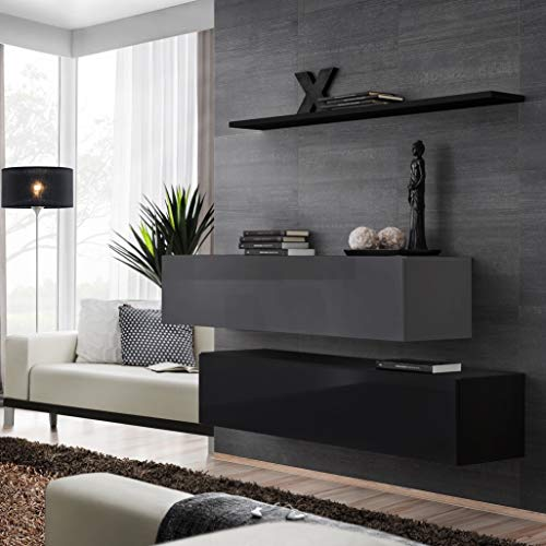 ASM Switch II Sideboard Set mit Wandregal 130cm breit 2 Schränke Push-CLICK Türen schwarz grau hochglanz