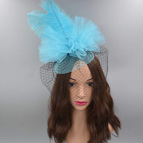 Veil Hoed Catwalk Avondjurk Tiara Hoofdstuk Stage Top Clip Hair-bijgesneden Mesh Jurk Hoed Lichtblauw