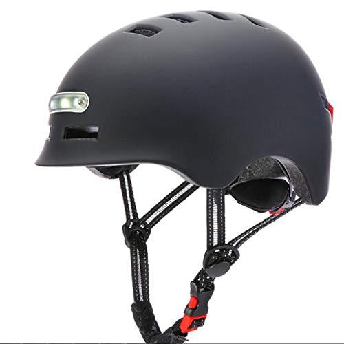 ReooLy Beleuchteter Warnlicht-Fahrradhelm, Schutzhelm für Nachtfahrten(Schwarz,54-57cm)