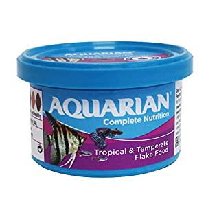 AQUARIAN Complete Nutrition, Aquarium Tropical Fish Food Flakes, 13g Container
