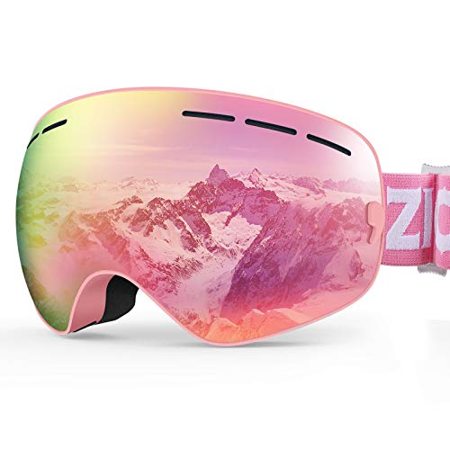 ZIONOR XMINI Kids Ski Snowboard Snow Goggles UV Protection Anti-Fog with Spherical Lens for Kids Boys Girls Youth (VLT 7% Pink Frame Grey Revo Pink Lens)